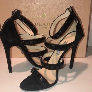 Prada Black Studded Sandals (37)